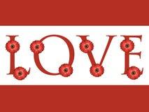 Fond rouge multiple de carte de jour de valentines de conception de lettre d'amour de fleur de marguerite Images stock