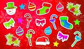 Fond rouge réglé de paquet d'ornement de Noël illustration stock