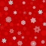 Fond rouge sans couture d'hiver avec les flocons de neige blancs Image stock