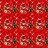 Fond rouge sans couture de Noël Photographie stock
