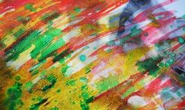 Fond rouge vert-bleu d'or brouillé, fond vif d'aquarelle, texture Photo libre de droits