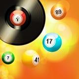 Fond rougeoyant avec des boules de disque vinyle et de bingo-test illustration stock