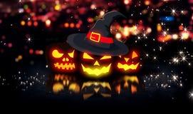 Fond rougeoyant 3D de Bokeh de ville de nuit de potirons de Halloween Images stock