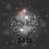 Fond rougeoyant gris de fête avec la boule de disco Photo stock