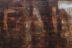 Fond rouill? Vieux feuillard rouill? Mur rouillé rouge du garage Texture de grunge de Brown images stock