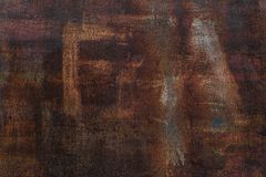 Fond rouill? Vieux feuillard rouill? Mur rouillé rouge du garage Texture de grunge de Brown L'inscription est évidente photo stock