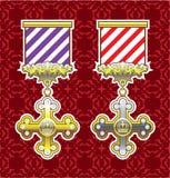 Fond royal d'Art Gold Silver Striped Ribbon de vecteur de médaille Images stock