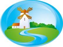 Fond rural avec le moulin Images libres de droits