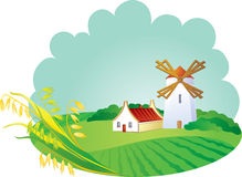 Fond rural avec le windwill et les oreilles Photographie stock