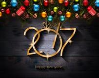 Fond saisonnier de 2017 bonnes années avec des babioles de Noël Image libre de droits