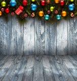 Fond saisonnier de 2017 bonnes années avec des babioles de Noël Photographie stock