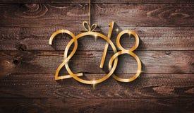Fond saisonnier de 2018 bonnes années avec le vrai pin vert en bois Image stock