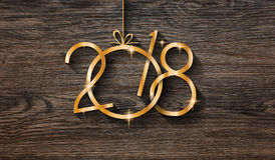 Fond saisonnier de 2018 bonnes années avec le vrai pin vert en bois Photo stock