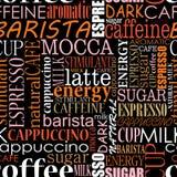 Fond sans couture avec des étiquettes de café Photo stock