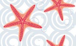 Fond sans couture avec des étoiles de mer Images libres de droits