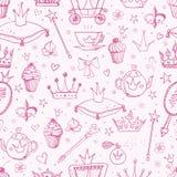 Fond sans couture avec des accessoires de princesse Images stock