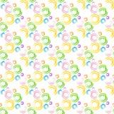 Fond sans couture avec des anneaux d'aquarelle Cercles d'aquarelle de dessin de main Fond coloré de modèle sans couture d'art Image stock