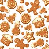 Fond sans couture avec des biscuits de pain d'épice Illustration de vecteur Photo stock