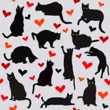 Fond sans couture avec des coeurs et des chats noirs illustration de vecteur