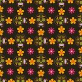 Fond sans couture avec des crânes et des fleurs de sucre Photographie stock libre de droits