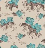 Fond sans couture avec des fleurs de turquoise Photographie stock libre de droits