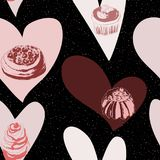 Fond sans couture avec des gâteaux et des coeurs illustration libre de droits