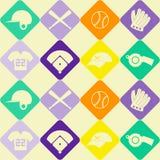 Fond sans couture avec des icônes de base-ball Image stock