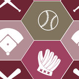 Fond sans couture avec des icônes de base-ball Photos stock
