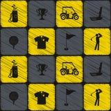 Fond sans couture avec des icônes de golf Photographie stock libre de droits