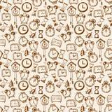 Fond sans couture avec des montres de croquis de griffonnage Photo stock