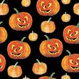 Fond sans couture avec des potirons de Halloween Modèle d'aquarelle Photo stock