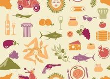 Fond sans couture avec des symboles traditionnels de la Sicile illustration stock