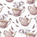 Fond sans couture avec des tasses et des pots Images stock