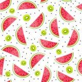 Fond sans couture avec des tranches de pastèque et de kiwi Illustration de vecteur Image stock