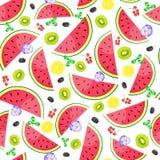 Fond sans couture avec des tranches de pastèque et de kiwi Illustration de vecteur Photo libre de droits