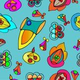 Fond sans couture avec différents éléments volants illustration stock