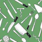 Fond sans couture avec la vaisselle antique de cuisine Photos libres de droits