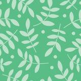 Fond sans couture avec le branche, les feuilles et les points de polka décoratifs Photos stock