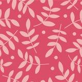 Fond sans couture avec le branche, les feuilles et les points de polka décoratifs Photographie stock libre de droits