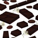 Fond sans couture avec le morceau de barres de chocolat, de fleurs de cacao, et de graines de cacao noires Illustration de vecteu illustration de vecteur