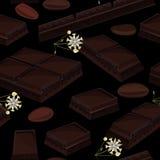 Fond sans couture avec le morceau de barres de chocolat, de fleurs de cacao, et de graines de cacao noires Illustration de vecteu illustration libre de droits