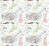 Fond sans couture avec le plat de poisson de goût Photo libre de droits