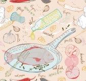 Fond sans couture avec le plat de poisson de goût Photographie stock libre de droits