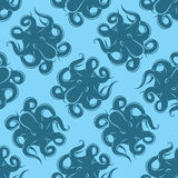 Fond sans couture avec le poulpe sur le fond bleu pour l'empaquetage ou les menus Photographie stock