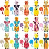 Fond sans couture avec les chats élégants décoratifs Photo stock