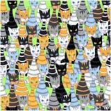 Fond sans couture avec les chats multicolores Photo stock