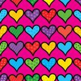 Fond sans couture avec les coeurs et les points de polka décoratifs Photos libres de droits