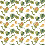 Fond sans couture avec les feuilles d'automne jaunes vertes colorées Photographie stock