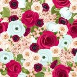 Fond sans couture avec les fleurs rouges, blanches et bleues Illustration de vecteur Image stock