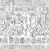 Fond sans couture avec les modèles et les symboles maya sur le blanc illustration de vecteur